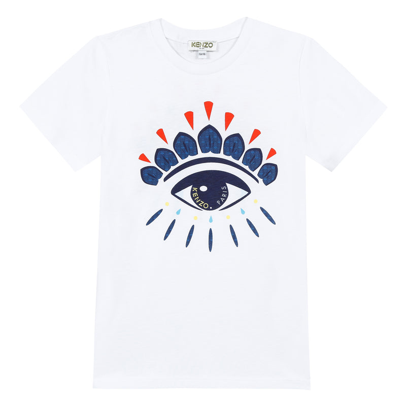 Boys Optic White Eye Printed Cotton T-shirt