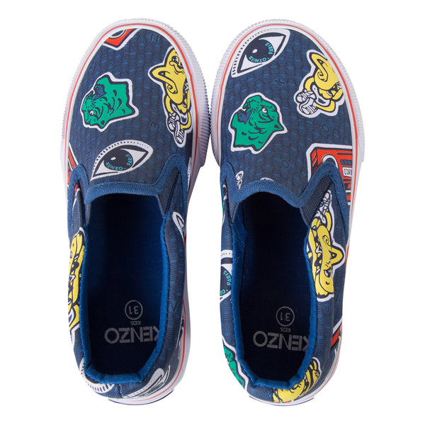 Boys Dark Blue Printed Shoes