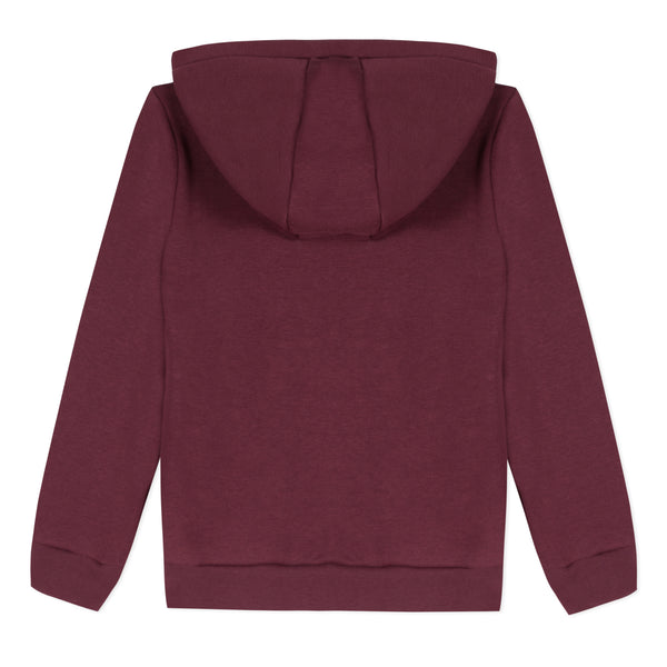 Boys Wine Red Zip Cotton Cardigan