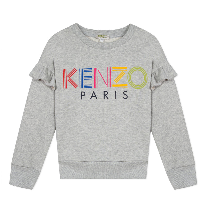 Girls Grey Logo Cotton Sweatshirt