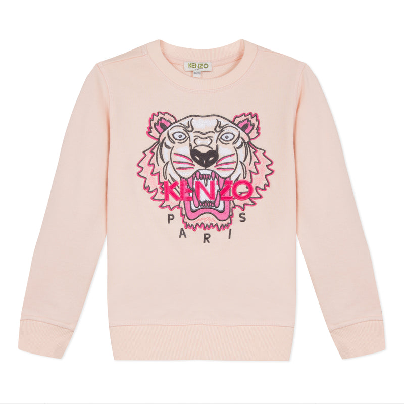Girls Pink Tiger Cotton Sweatshirt