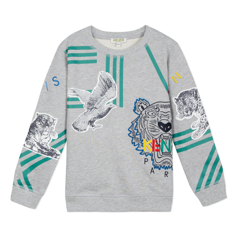 Boys Grey Printing Cotton Sweatshirt