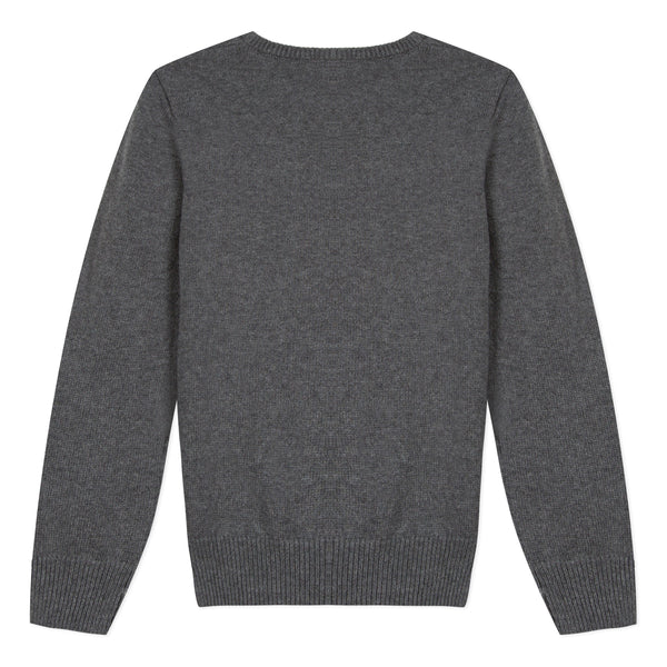 Boys Dark Grey Logo Cotton Sweater