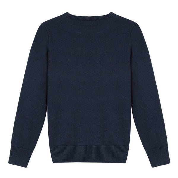 Boys Navy Logo Cotton Sweater