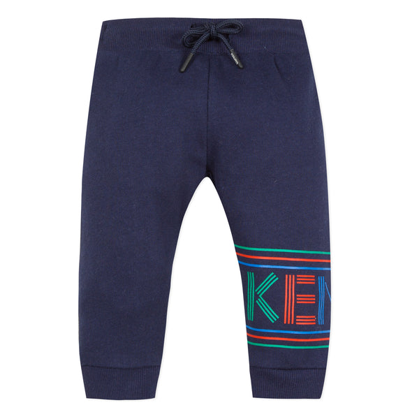 Baby Boys Navy Logo Cotton Trousers