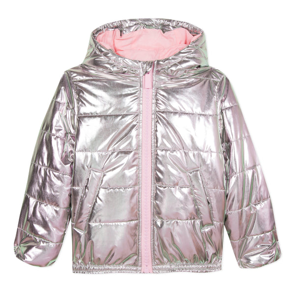 Girls Light Pink Padded Down Coat