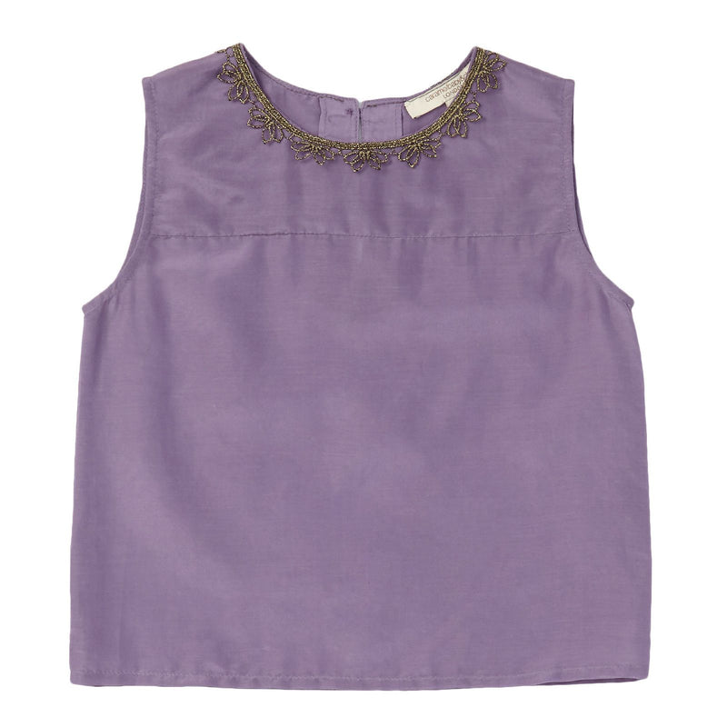 Girls Purple Cotton&Silk Patch Trims Neck Blouse - CÉMAROSE | Children's Fashion Store