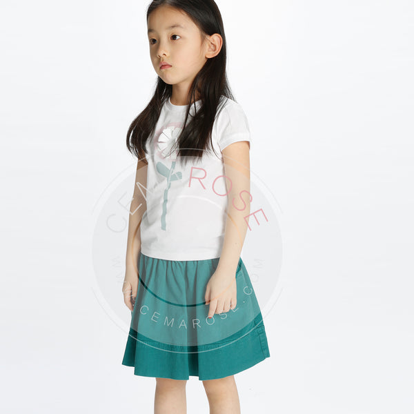 Girls Sea Green Cotton Skirt