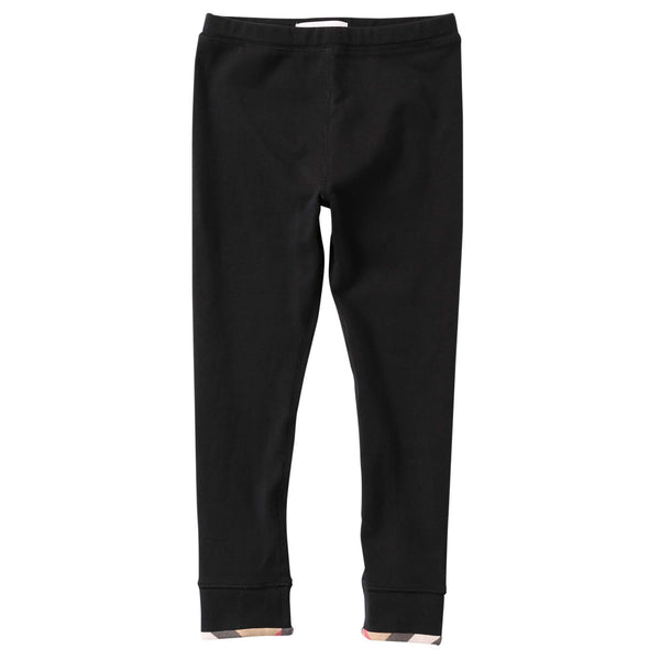 Girls Black Cotton Trouser With Check Cuffs - CÉMAROSE | Children's Fashion Store - 1