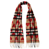 Girls Parade Red New Classic Check & Hearts Cashmere Scarf