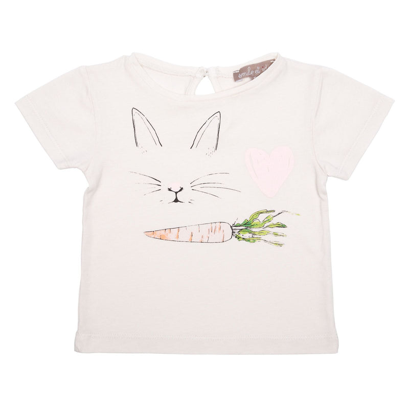 Girls White Cotton T-Shirt With Rabbit&Carrot Print - CÉMAROSE | Children's Fashion Store
