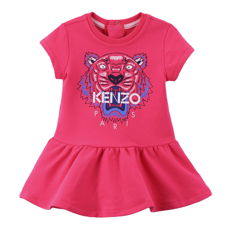 Baby Girls Fuchsia Tiger Head Embroidered Trims Cotton Dress - CÉMAROSE | Children's Fashion Store - 1