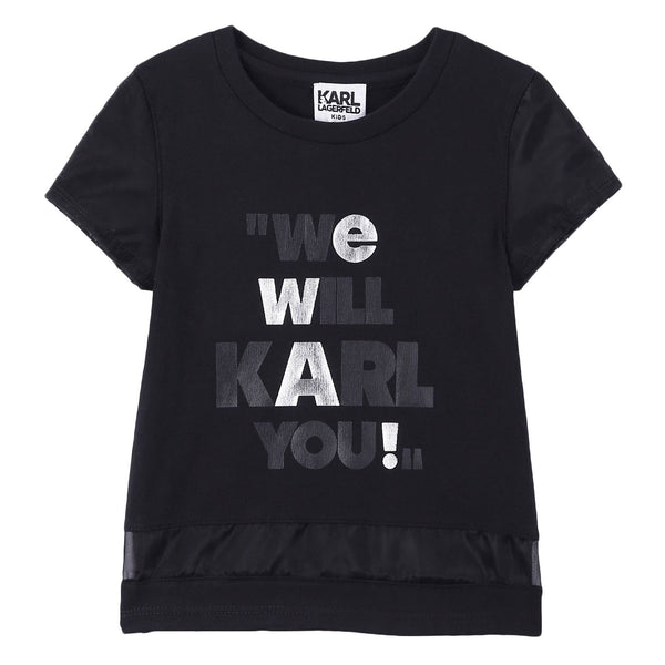 Girls Black Cotton T-Shirt With 'We Will Karl You' Print - CÉMAROSE | Children's Fashion Store - 1