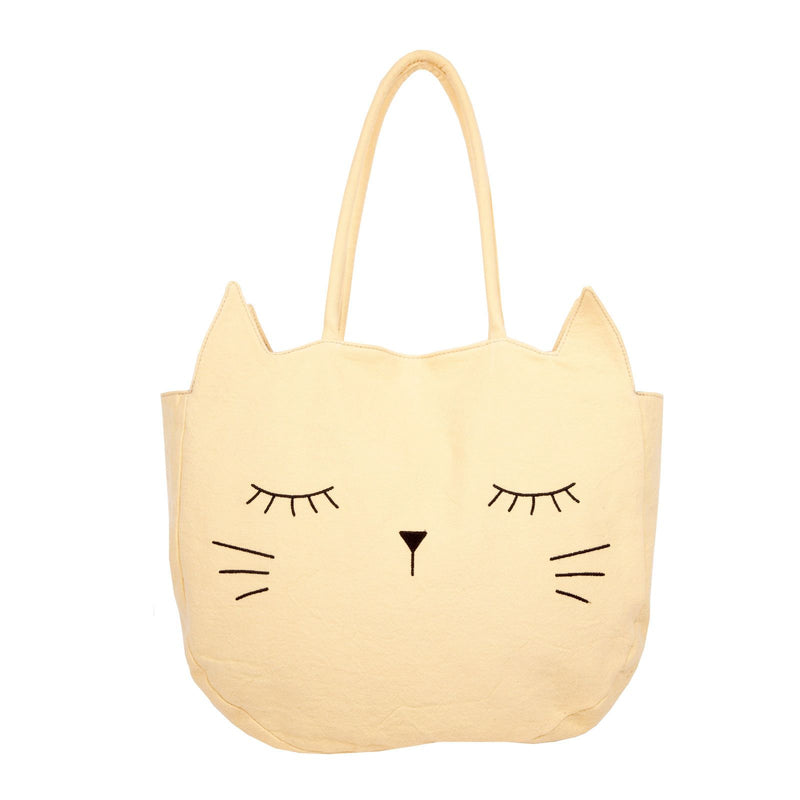 Girls Bright Yellow Cat Face Printed Cotton Bag - CÉMAROSE | Children's Fashion Store