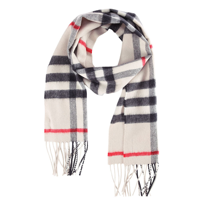 Boys&Girls White Cashmere Classic Check Scarf - CÉMAROSE | Children's Fashion Store