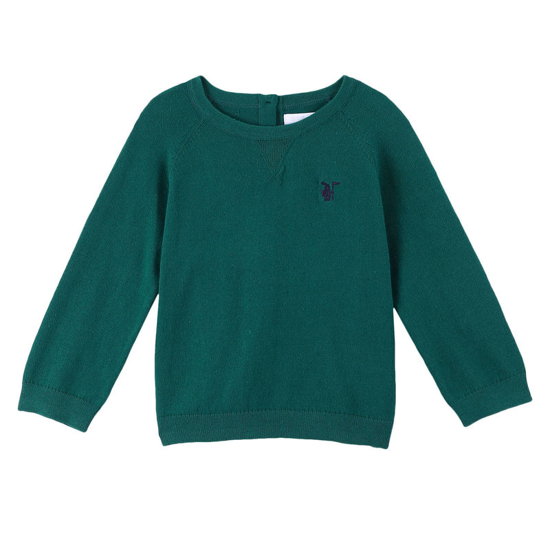 Baby Boys Deep Viridian Green Knitted Cotton Sweater - CÉMAROSE | Children's Fashion Store - 1