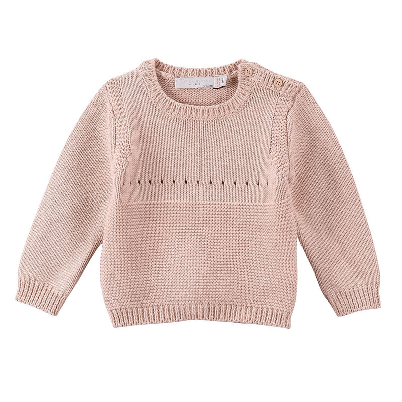 Baby Pink Cotton knitted Bunny Motif Trims Sweater - CÉMAROSE | Children's Fashion Store - 1
