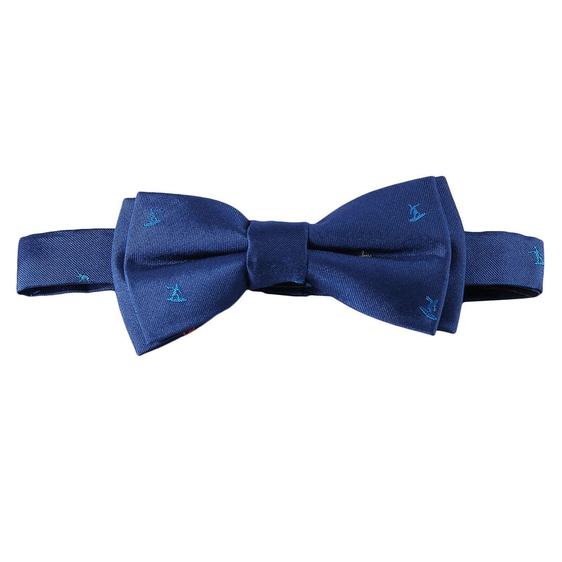 Boys Petrol Blue Embroidered Trims Silk Bow Ties - CÉMAROSE | Children's Fashion Store - 1