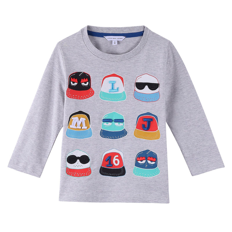 Boys Grey Fancy Illustration Printed Cotton Long Sleeve T-Shirt - CÉMAROSE | Children's Fashion Store - 1
