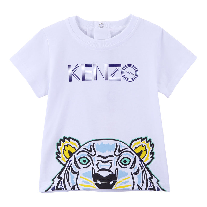 Baby Boys White Cotton T-Shirt With Tiger Head Print Trims - CÉMAROSE | Children's Fashion Store - 1