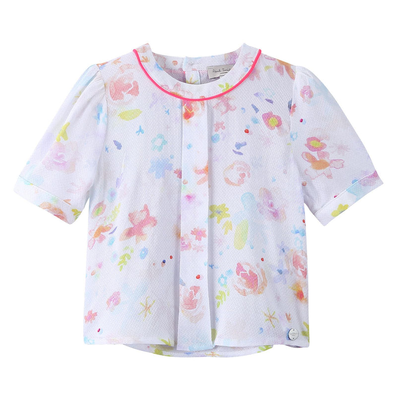 Girls Multicolor Printed Short Sleeve Viscose Blouse - CÉMAROSE | Children's Fashion Store - 1