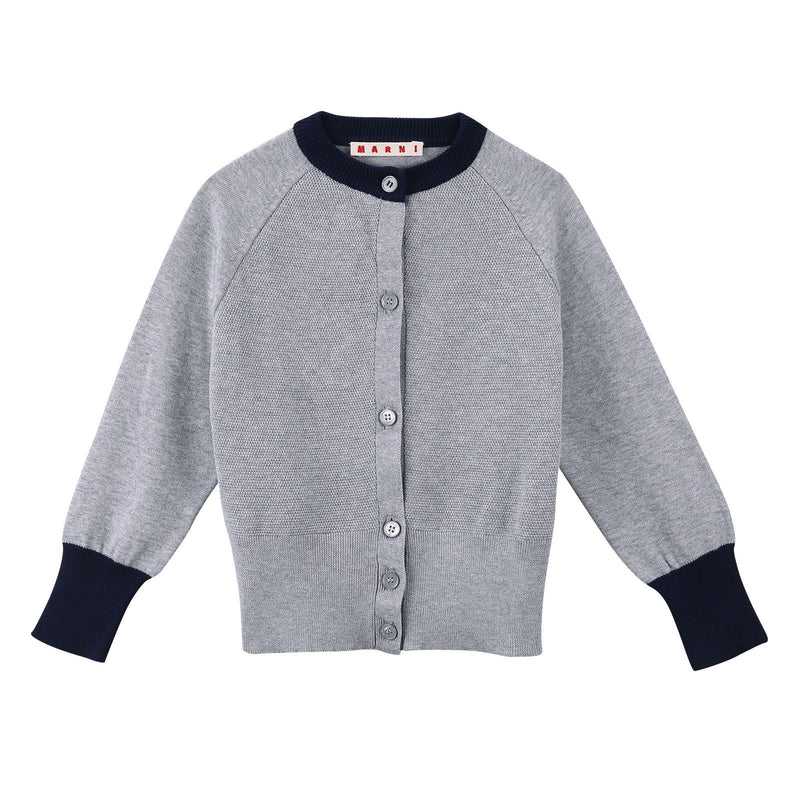 Girls Grey Knitted Cotton Cardigan With Ribbed Cuffs - CÉMAROSE | Children's Fashion Store - 1