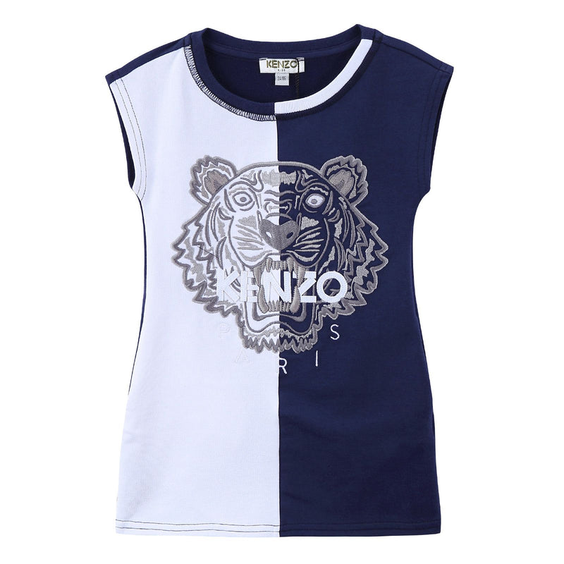 Girls White&Navy Blue Tiger Head Embroidered Jersey Dress - CÉMAROSE | Children's Fashion Store - 1