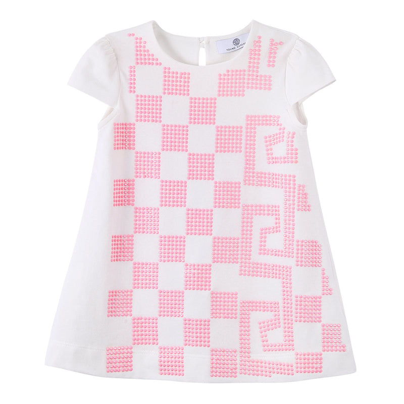 Baby Girls White Cotton Dress With Pink Greca Key Print - CÉMAROSE | Children's Fashion Store - 1