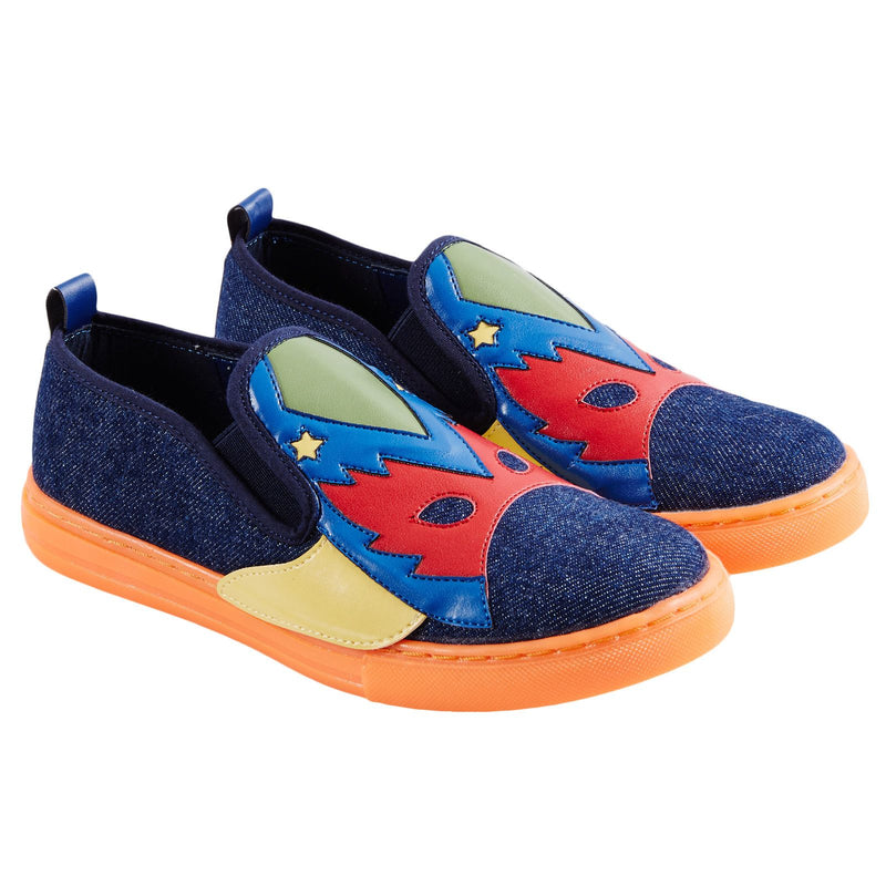 Leo Boys Multicolor Super Heroes Printed Denim Trainers - CÉMAROSE | Children's Fashion Store - 1