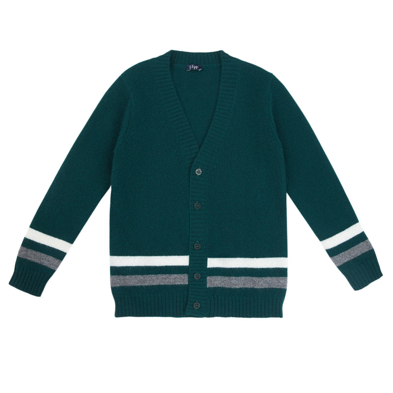 Boys Green Wool Cardigan