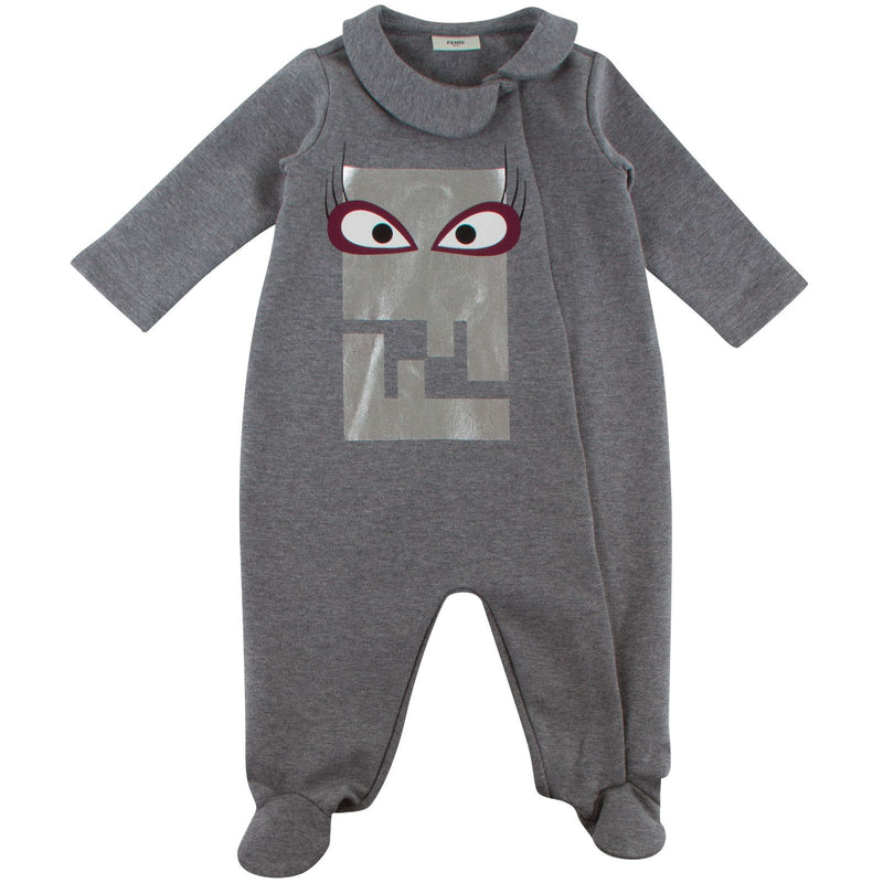 Baby Girls Dark Grey Monster Printed Babygrow - CÉMAROSE | Children's Fashion Store - 1
