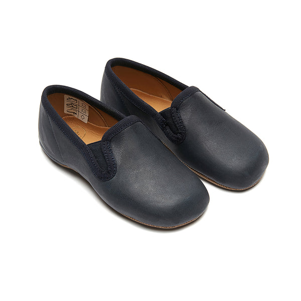 Boys & Girls Navy Leather Shoes