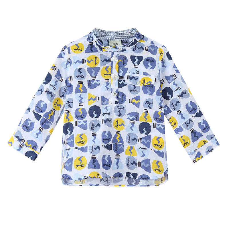 Baby Boys Multicolor All Over Printed Cotton Shirt - CÉMAROSE | Children's Fashion Store - 1