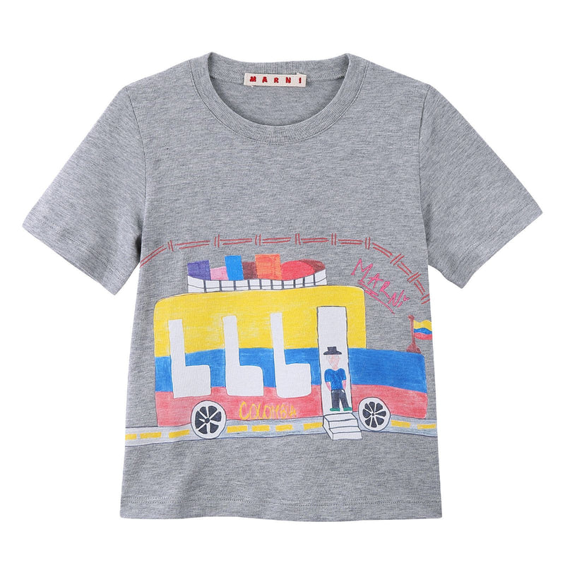 Girls Grey Bus Printed Cotton Jersey T-Shirt - CÉMAROSE | Children's Fashion Store - 1