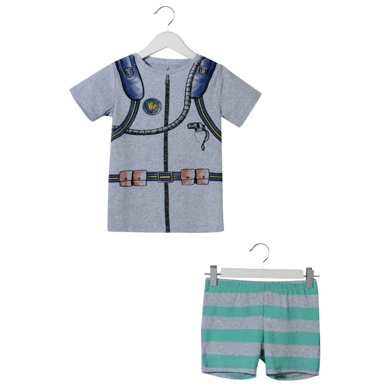 Boys Grey Printed Tops&Striped Trims Bottoms - CÉMAROSE | Children's Fashion Store - 1
