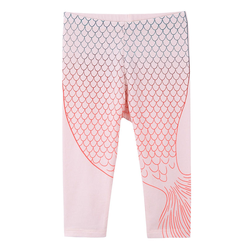 Baby Girls White Cotton Leggings With Pink Fishtail Print - CÉMAROSE | Children's Fashion Store - 1