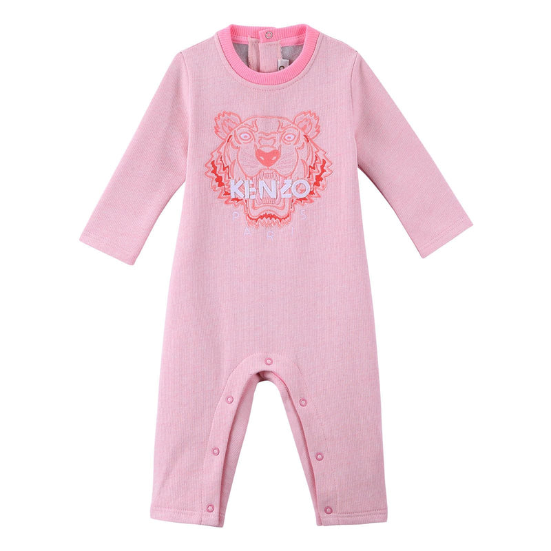 Baby Light Pink Cotton Embroidered Tiger Head Babygrow - CÉMAROSE | Children's Fashion Store - 1