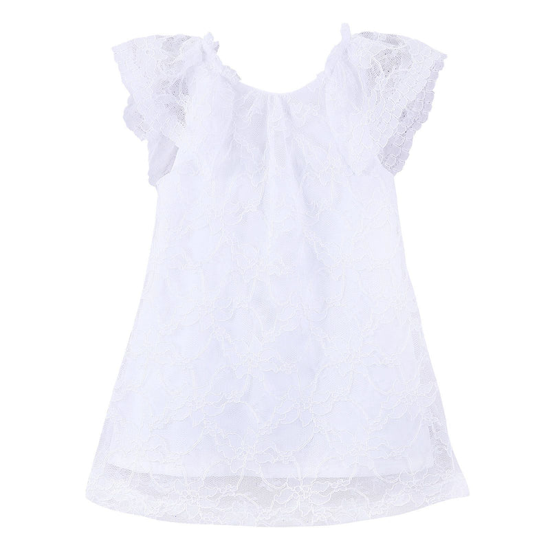 Girls White Lace Dress With Frilly Cuffs - CÉMAROSE | Children's Fashion Store - 1
