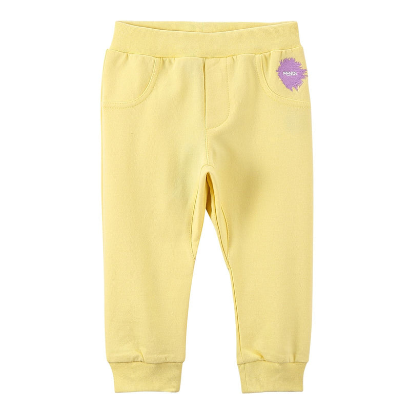 Baby Girls Light Yellow Cotton Trousers With Brand Logo Print - CÉMAROSE | Children's Fashion Store - 1