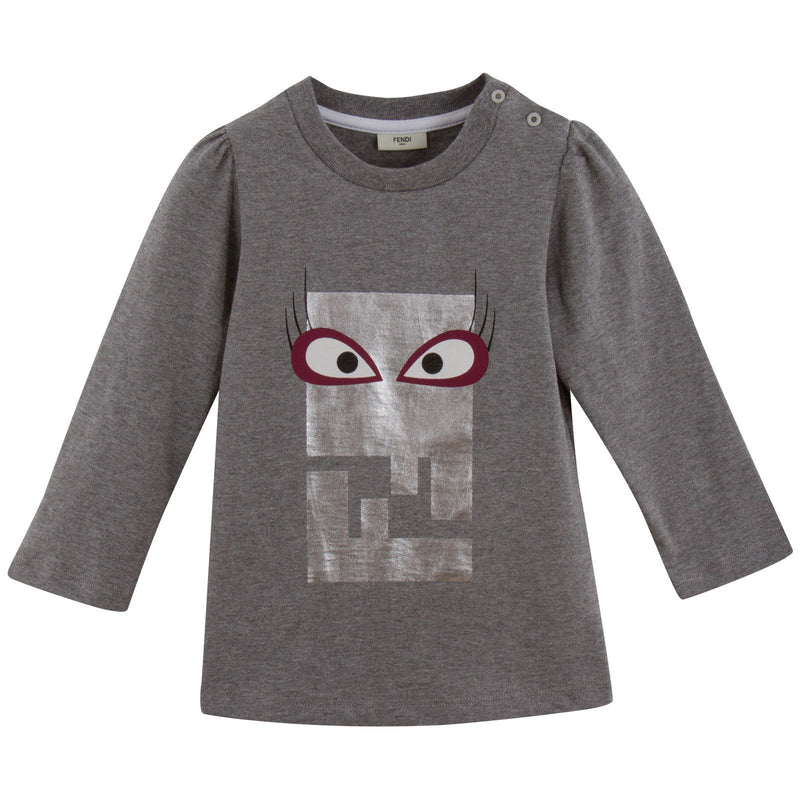 Baby Girls Grey Cotton Monster Printed T-Shirt - CÉMAROSE | Children's Fashion Store - 1
