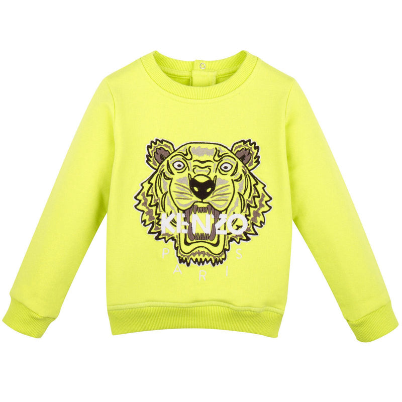 Baby Lime Green Tiger Embroidered Sweatshirt With Buttons - CÉMAROSE | Children's Fashion Store