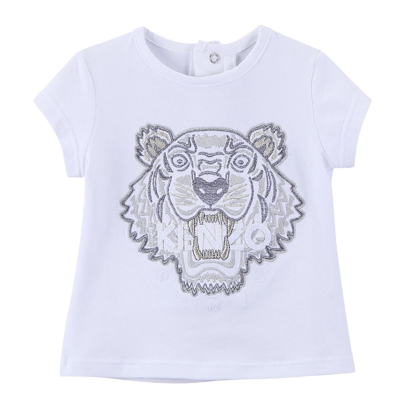 Baby Girls White Cotton Embroidered Tiger Head T-Shirt - CÉMAROSE | Children's Fashion Store - 1