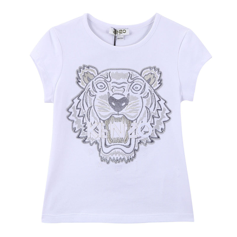 Girls White Tiger Head Embroidered Trims Cotton Jersey T-Shirt - CÉMAROSE | Children's Fashion Store - 1