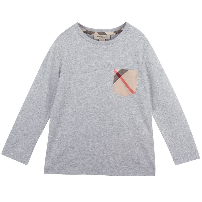 Boys Grey Cotton T-Shirts With Check Pocket - CÉMAROSE | Children's Fashion Store - 1