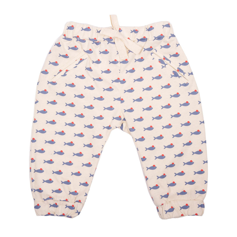 Baby White Fish Printed Cotton Trousers With Elastic Cuffs - CÉMAROSE | Children's Fashion Store