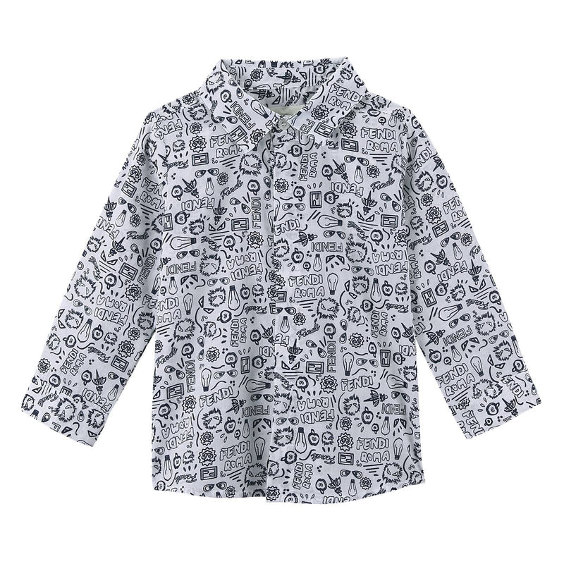 Baby Boys White&Blue All Over Printed Cotton Shirt - CÉMAROSE | Children's Fashion Store - 1