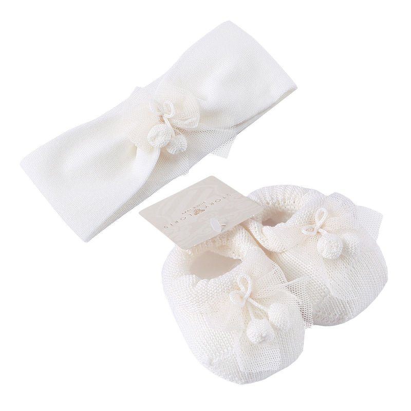 Baby White Knitted Cotton Shoes&Hair Band Gift Set - CÉMAROSE | Children's Fashion Store - 1