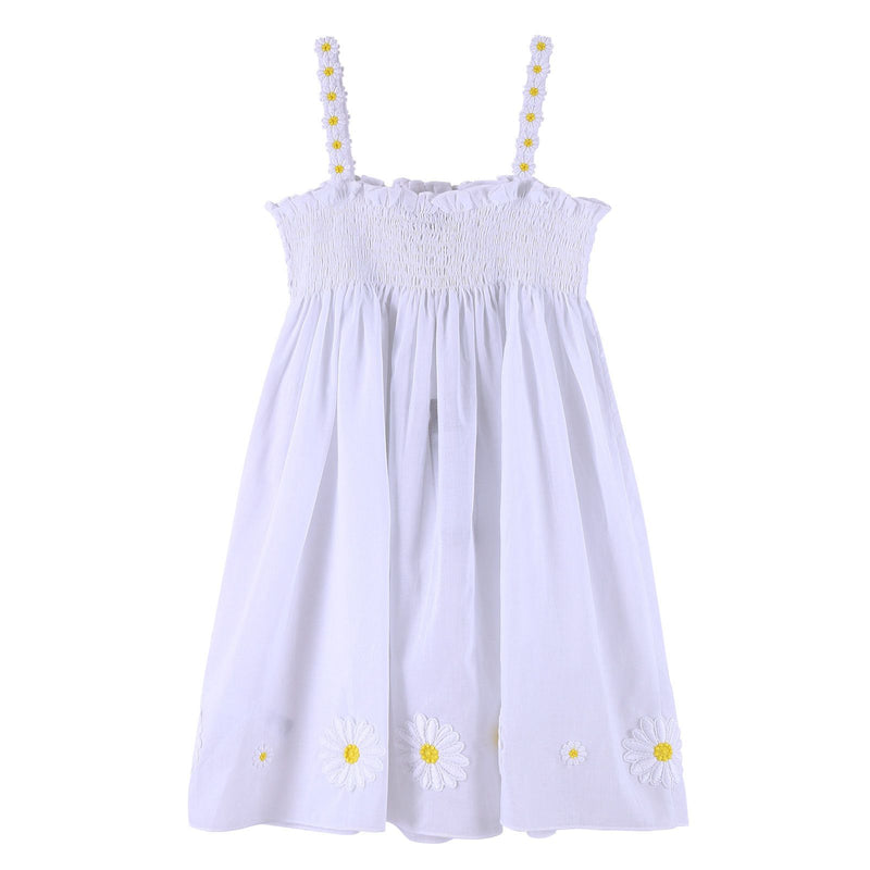 Girls Ivory Backless Dress With Flower Patch Trims - CÉMAROSE | Children's Fashion Store - 1