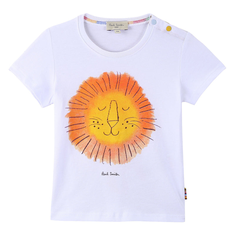 Baby Boys White Lion Face Printed Cotton T-Shirt - CÉMAROSE | Children's Fashion Store - 1