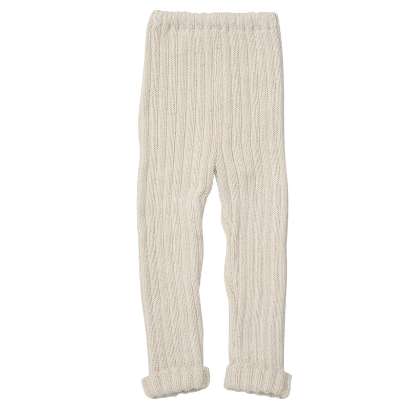 Baby White Alpaca Wool Ribbed Trousers - CÉMAROSE | Children's Fashion Store